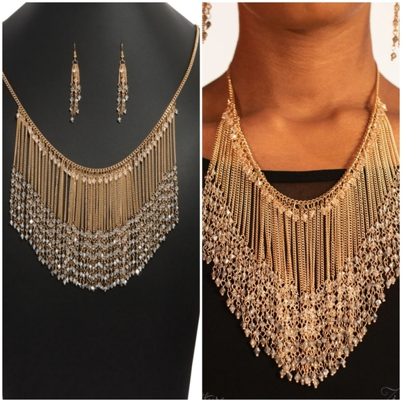 THE DONNALEE GOLD ZI COLLECTION NECKLACE/EARRING S